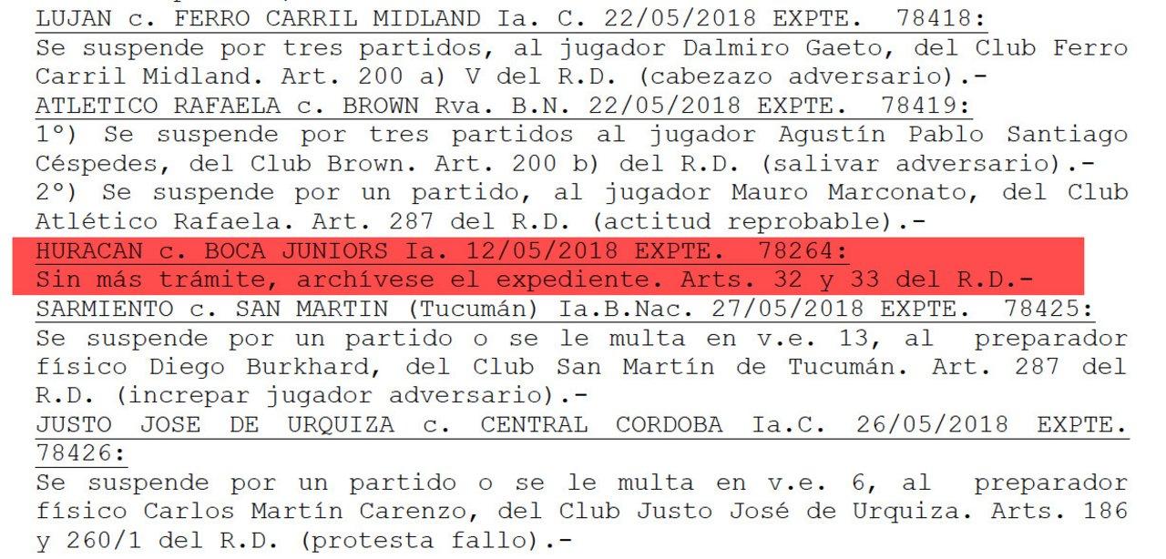 Resolución caso Gago-Rapallini // Fuente: Boletín Oficial