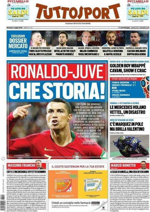 La tapa del diario italiano Tuttosport.