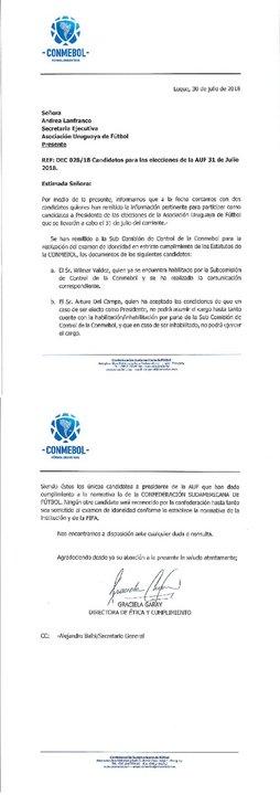 Esta es la carta llegó desde CONMEBOL