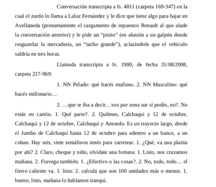 Fragmento de las escuchas transcritas en el fallo. Fuente: Infobae