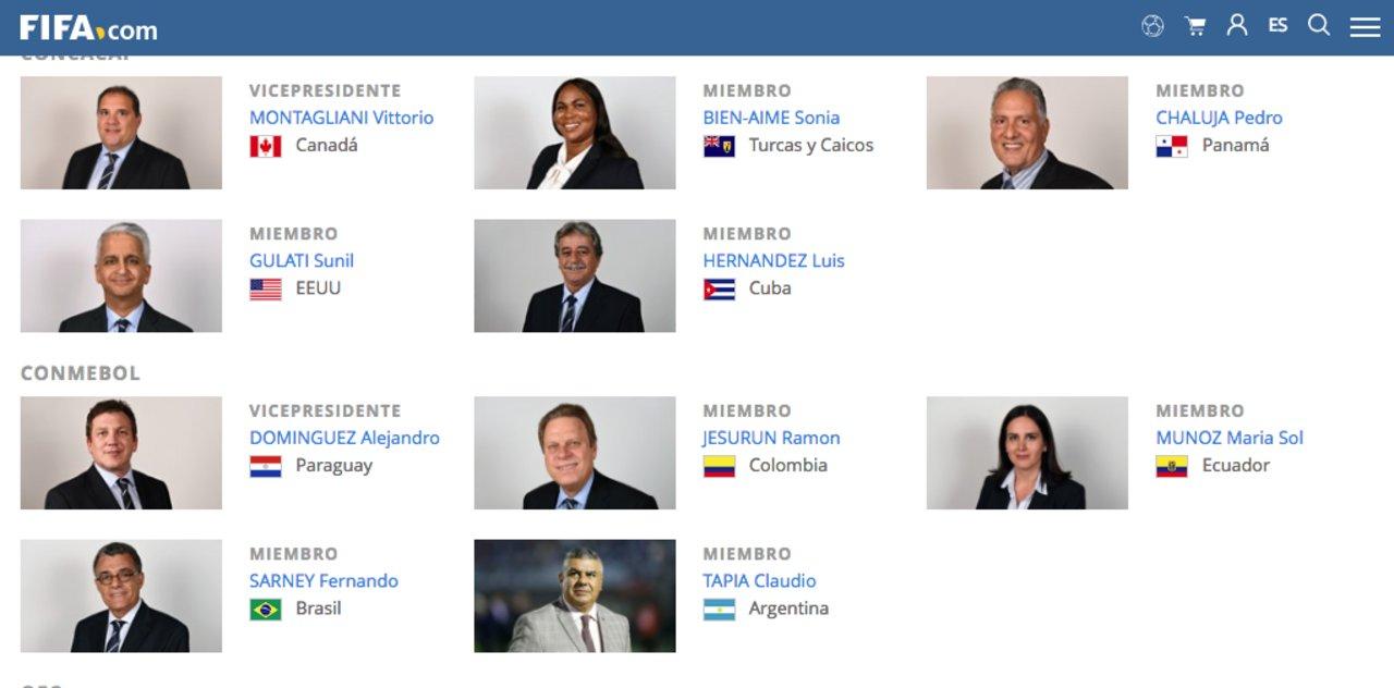 Así figura Tapia en la web de FIFA.