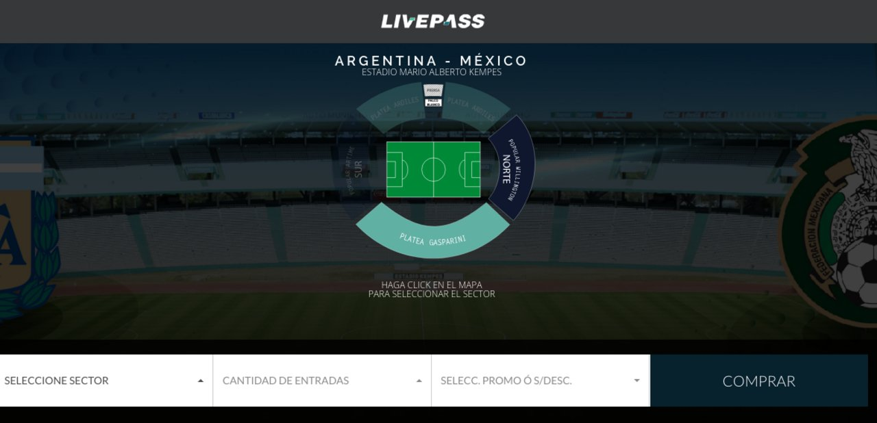 La página de venta de entradas.