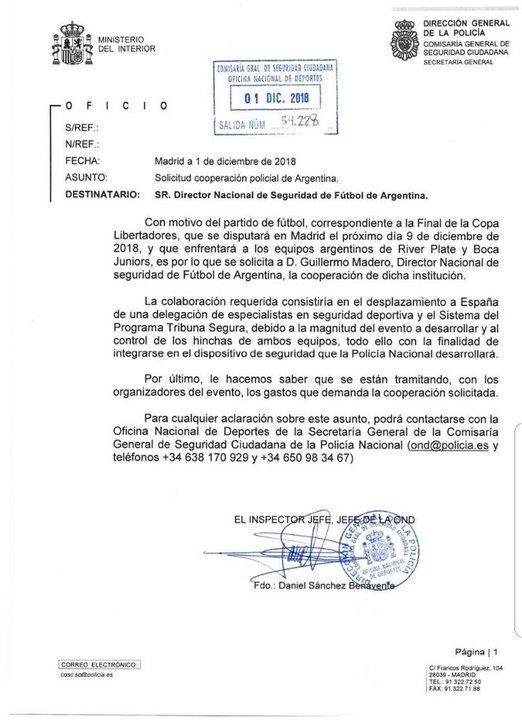 """Este es el pedido oficial del Gobierno de España a Guillermo Madero, para sumar """"Tribuna Segura"""" al operativo del Superclásico."""