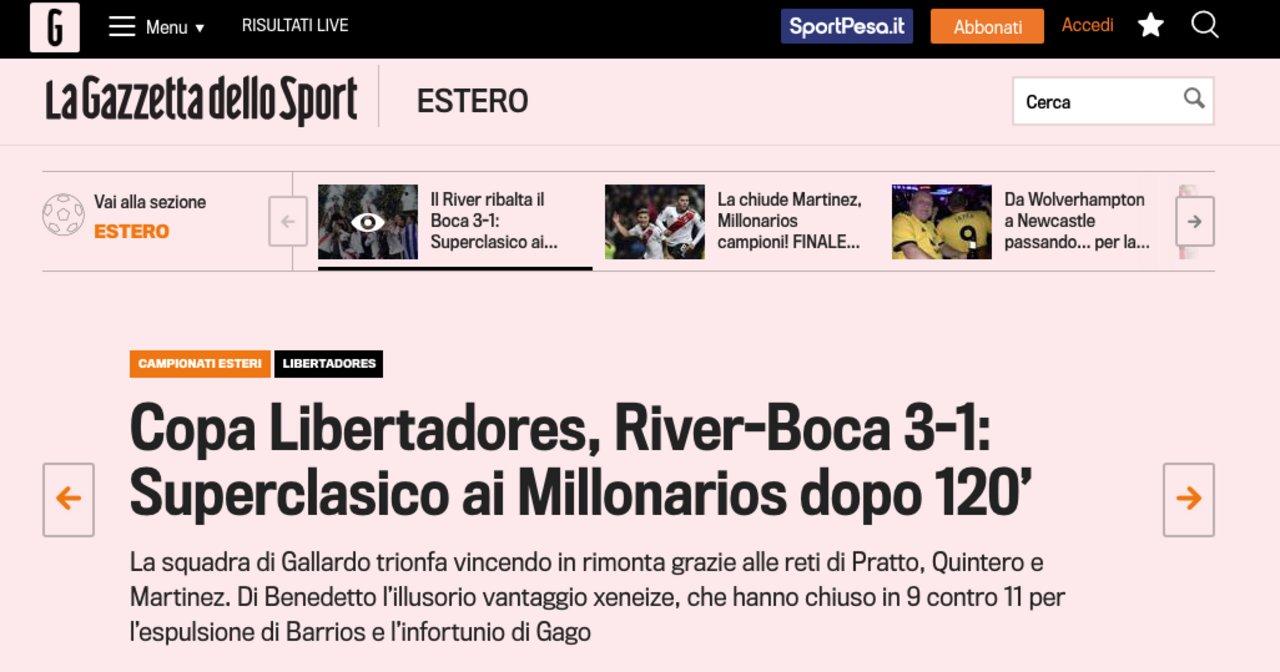 """Diario """"La Gazzeta Dello Sport"""" (Italia)"""