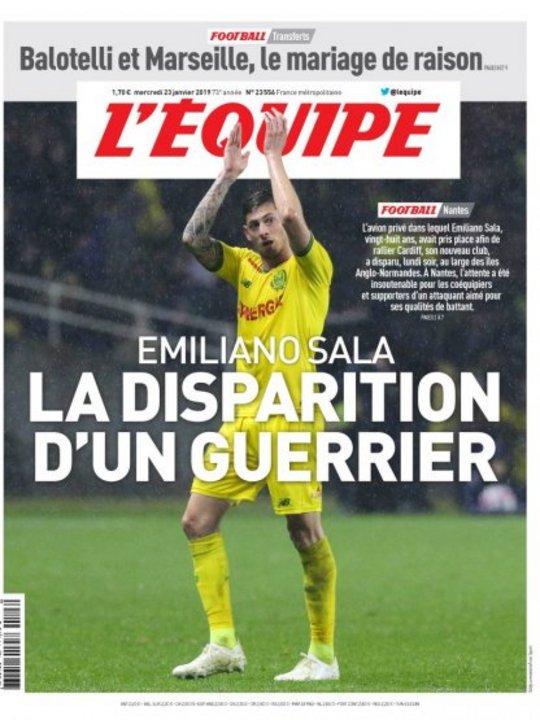 La portada de L'Equipe, de Francia.