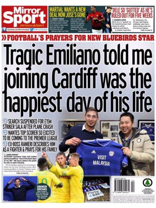 """El """"Daily Mirror"""" en su suplemento deportivo también le dio espacio."""