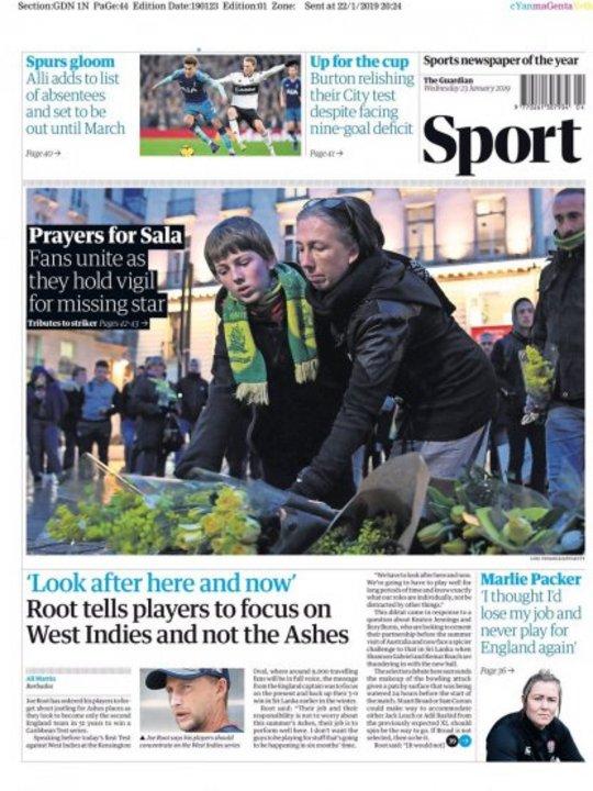 """El suple deportivo del """"Daily Mirror"""" también fue para Sala."""