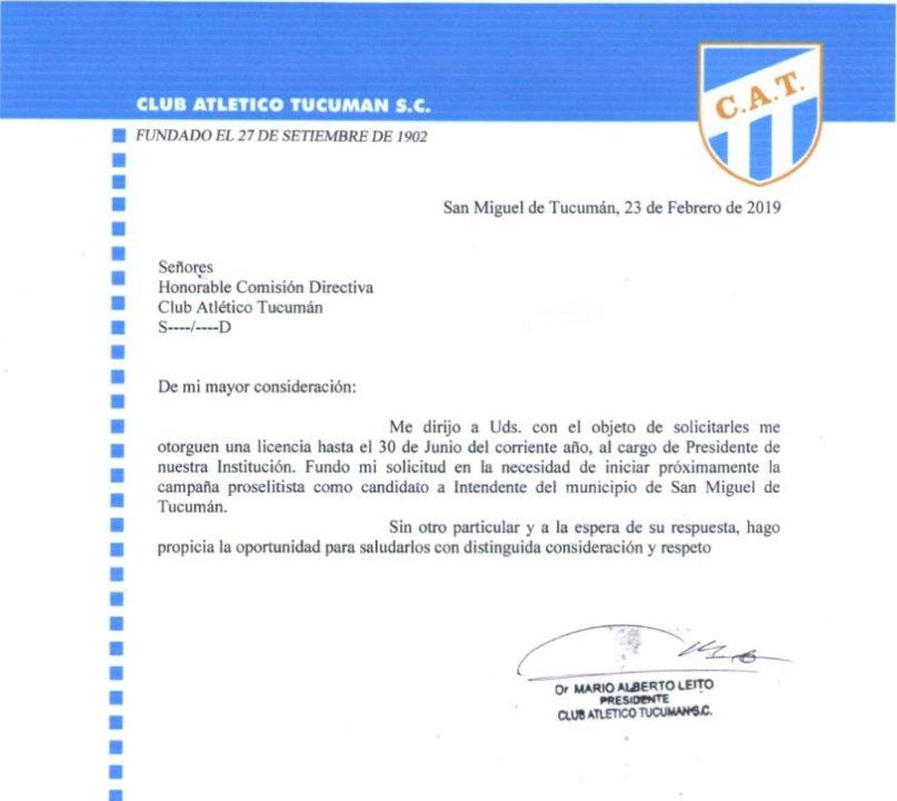 La carta en enviada por Leito a la CD.