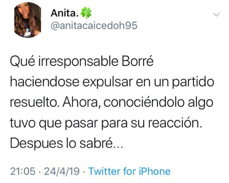 El Twitter de Ana Caicedo, la novia de Borré.