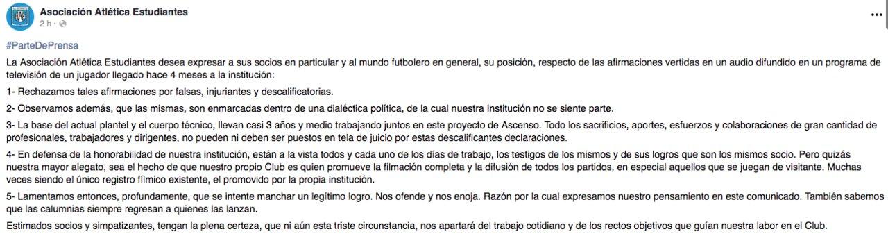 El comunicado de Estudiantes.