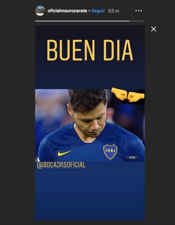 Mauro Zárate y su posteo de Instagram.