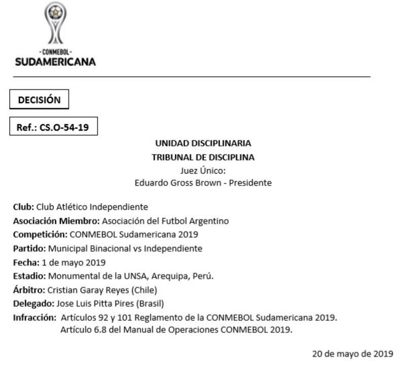 Esta es la sanción de CONMEBOL a Independiente.