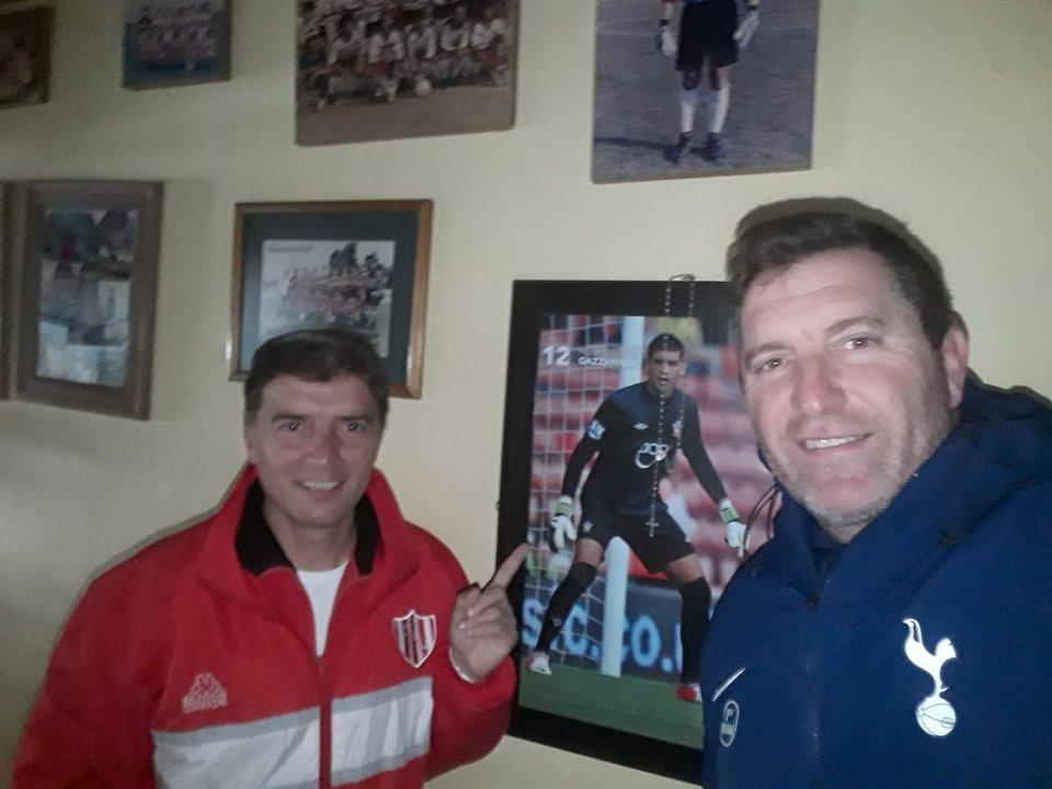 Marcelo y el tío del arquero, quién lo apoyó mucho en su carrera futbolística.