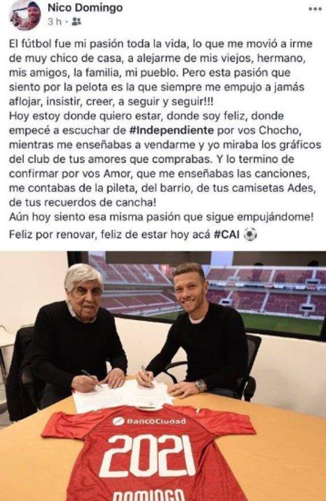 Nicolás Domingo extendió su vínculo con el Rojo.