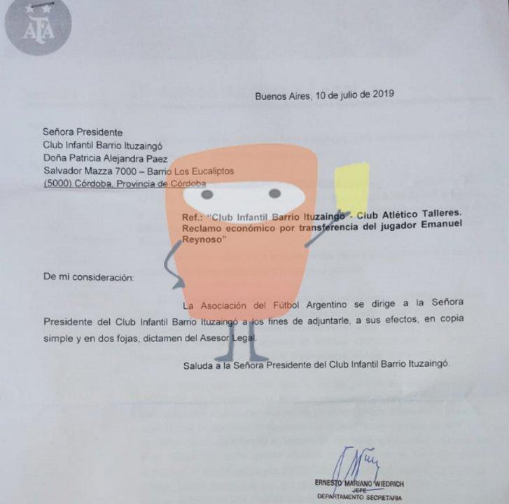 La Carta que envío AFA a CIBI el pasado 10 de julio.