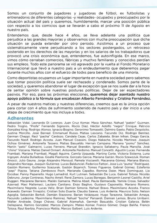 Esta es la carta presentada por los más de 100 futbolistas.
