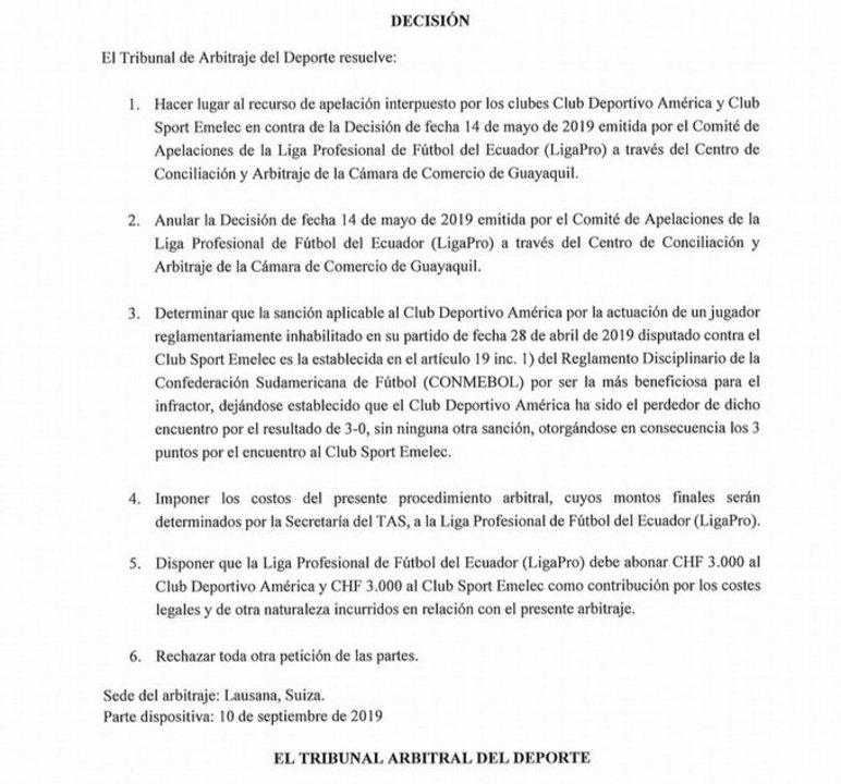 TAS falla a favor de Emelec ante América de Quito