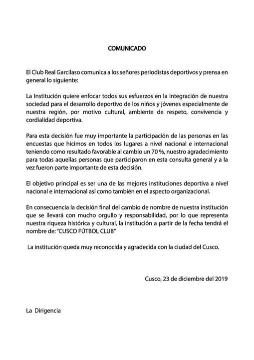 Este es el comunicado del club peruano, en el que da cuenta de su decisión.