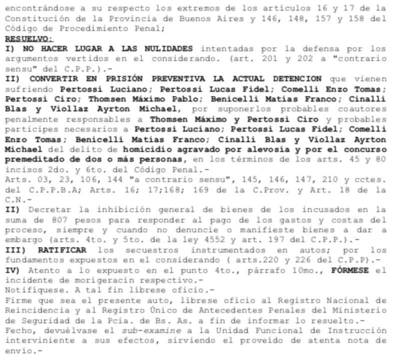 La resolución del Juez de Garantías, Mancinelli