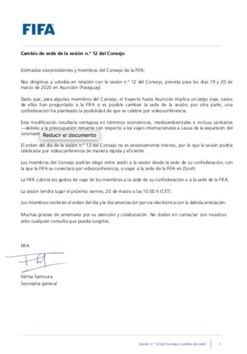 La comunicación oficial de la FIFA.