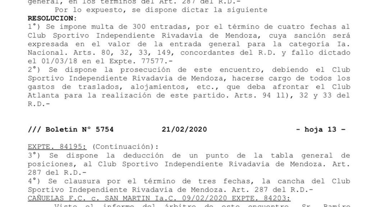 Este es el texto de la resolución de AFA.