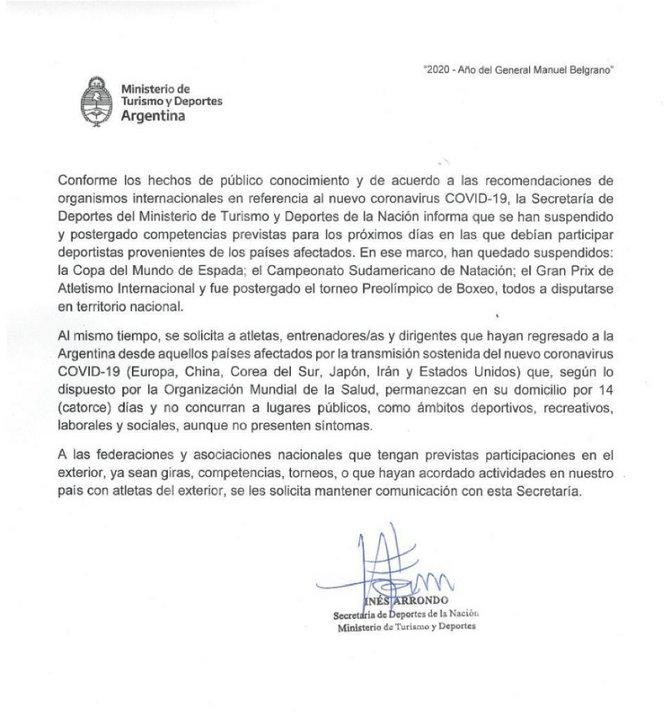 Comunicado oficial del Ministerio de Turismo y Deportes de la República Argentina.