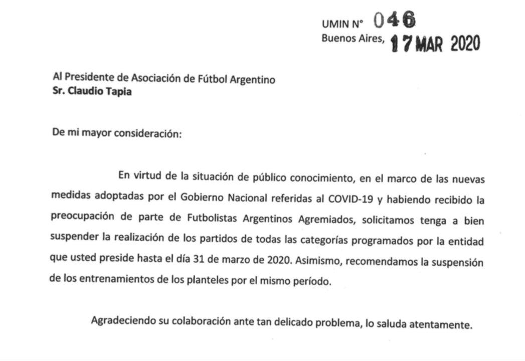 La carta enviada a 'Chiqui' Tapia.