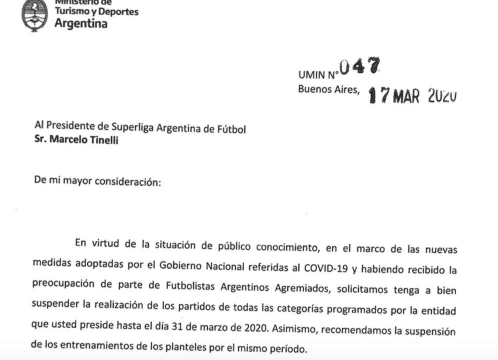 """La carta que recibió Marcelo Tinelli, idéntica a la de """"Chiqui"""" Tapia."""