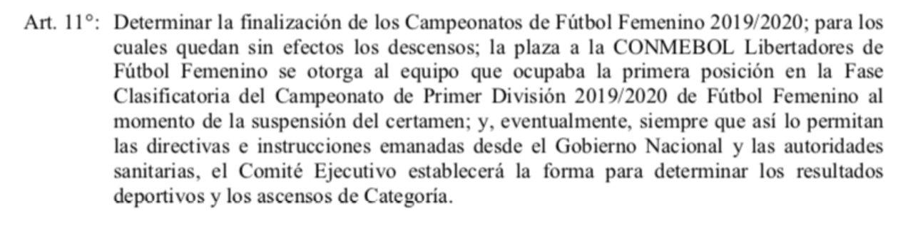 El punto que hace referencia a la finalización del fútbol femenino.