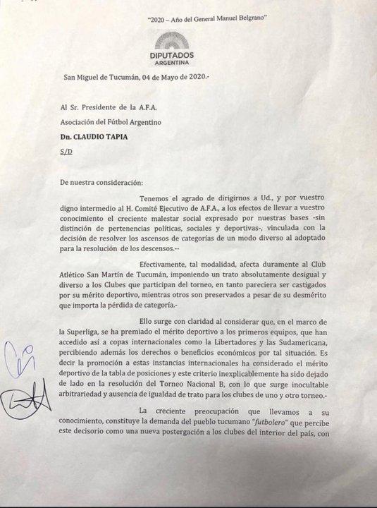 Primera parte del texto que enviaron a AFA los diputados tucumanos. Vía: Diario La Gaceta