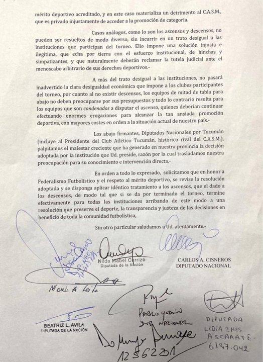 Segunda parte del texto que enviaron a AFA los diputados tucumanos. Vía: Diario La Gaceta