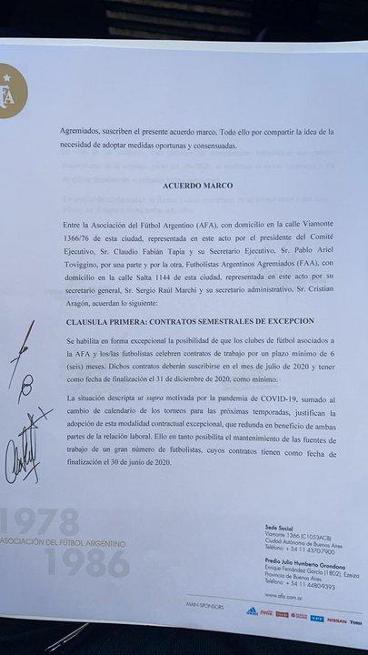 El acuerdo fue firmado entre AFA y Agremiados.