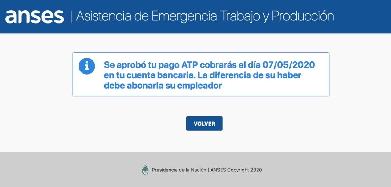 El cartel que aparece en la web de la ANSES cuando se ingresa el CUIT de Ignacio Galarza.