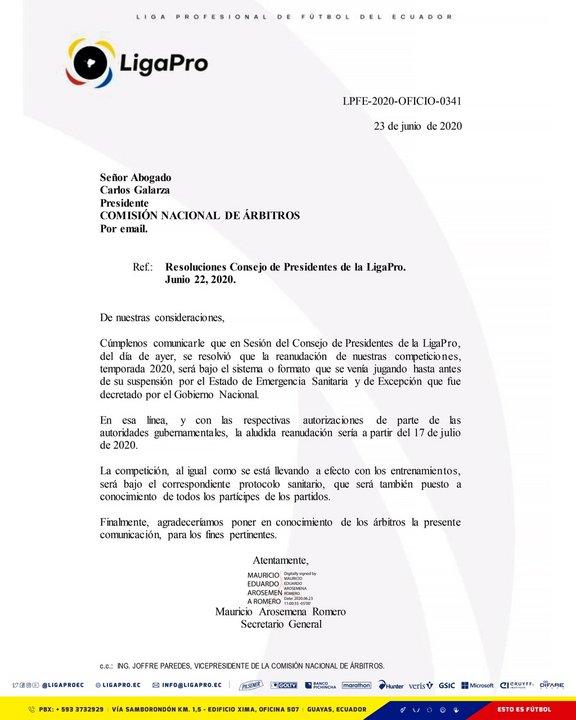 Resolución del Consejo de Presidentes de La LigaPro de Ecuador