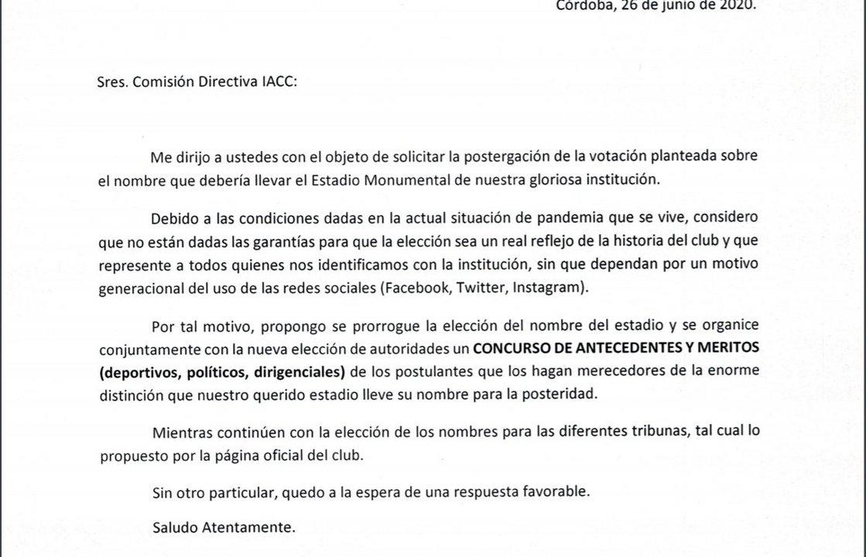 Carta del socio vitalicio Aníbal Rossi Grosso.  (Foto: Hernán Laurino)