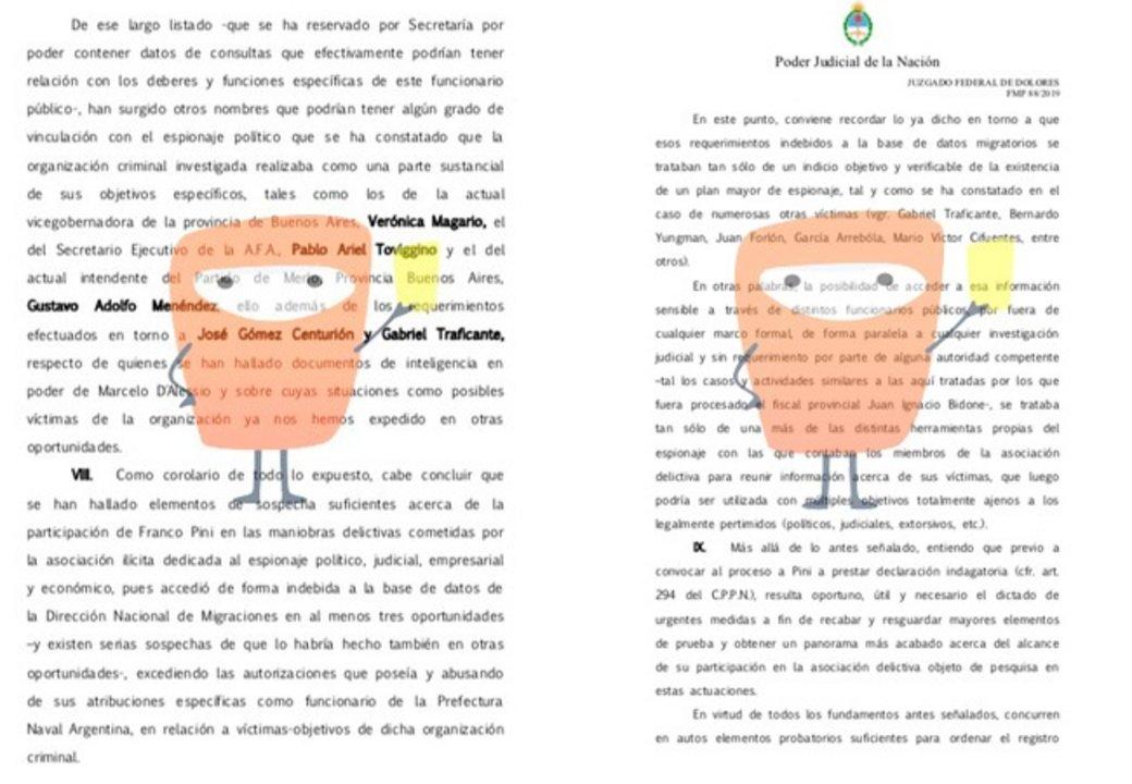 Parte del expediente judicial que se tramita en el juzgado de Dolores que prueban el espionaje contra Toviggino.