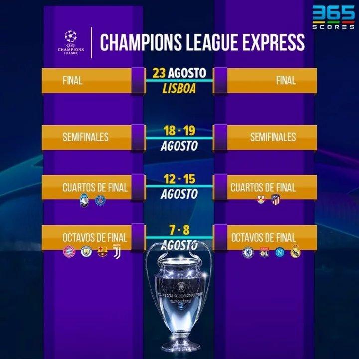 Placa de @365ScoresApp sobre la Champions League
