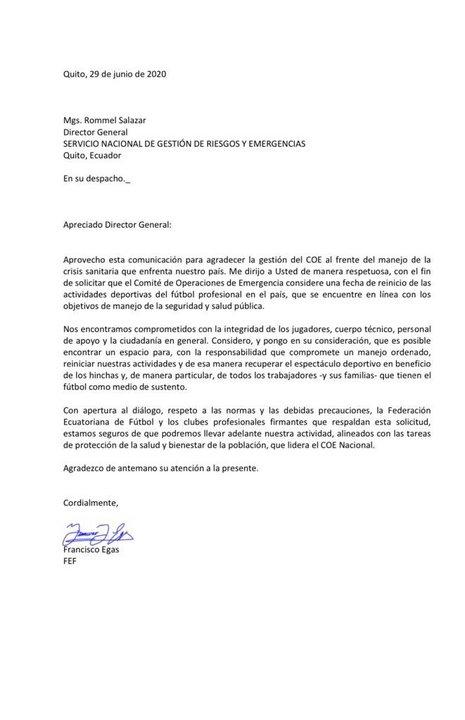 El comunicado oficial de la Federación Ecuatoriana de Fútbol hacia el Comité de Operaciones de Emergencia
