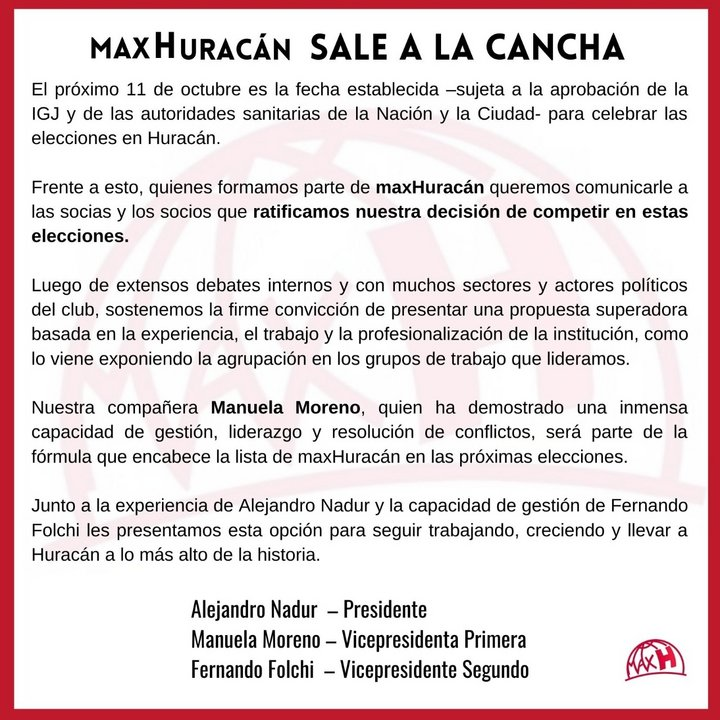 El comunicado oficial de MaxHuracán, el espacio que ocupará Alejandro Nadur