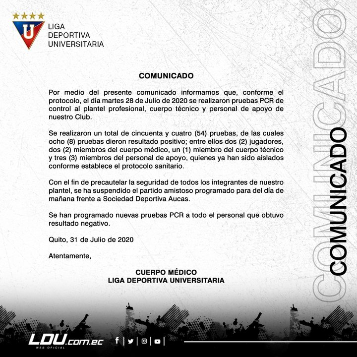 Comunicado oficial de Liga de Quito