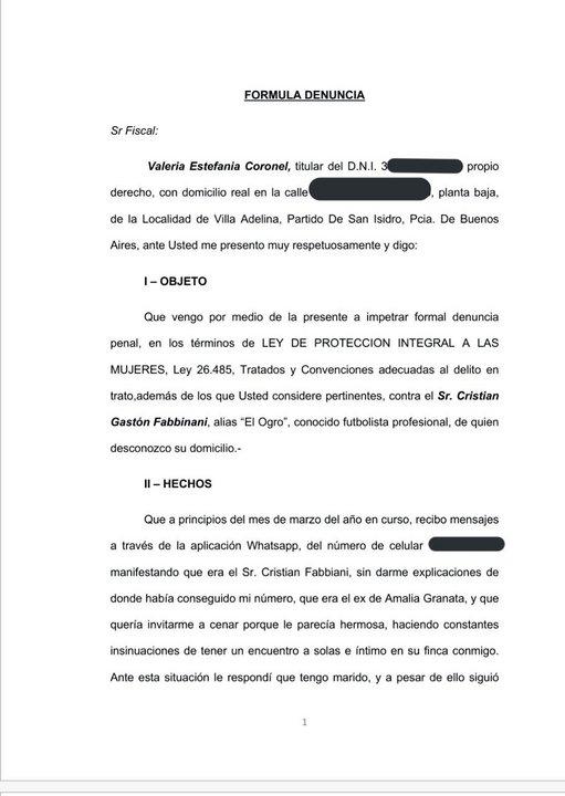 Parte de la denuncia esgrimida contra Cristian 'Ogro' Fabbiani