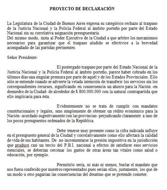El proyecto firmado por Fernández en 2001.