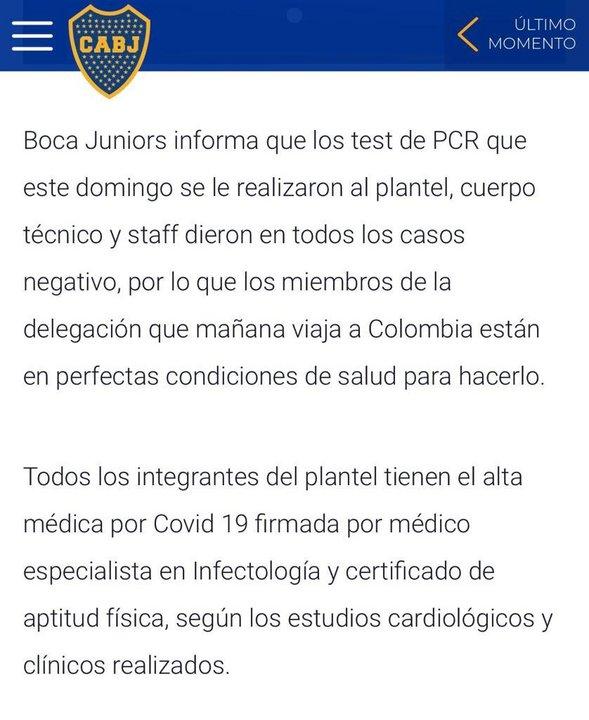 El comunicado de la CD de Boca.