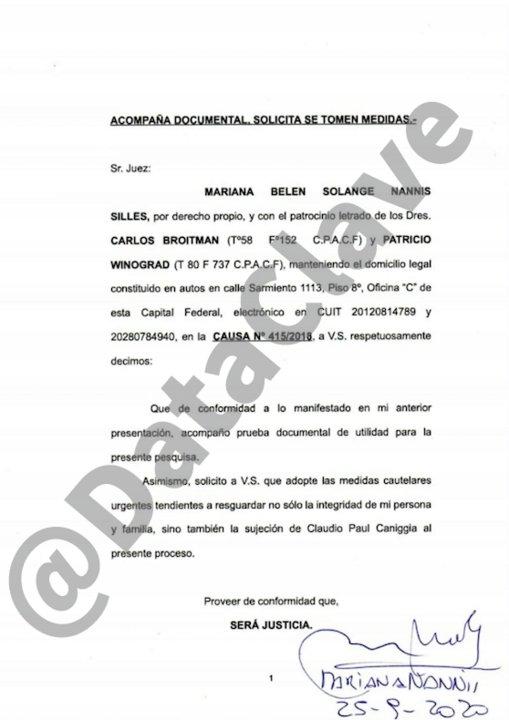El pedido de Mariana Nannis al Juez.