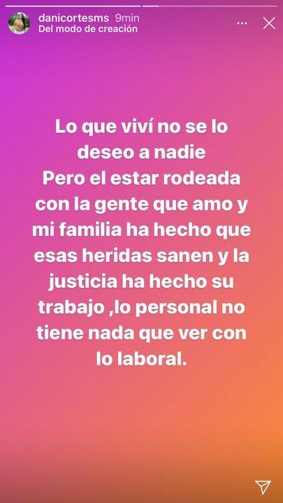 Mensaje de instagram de Daniela Cortés