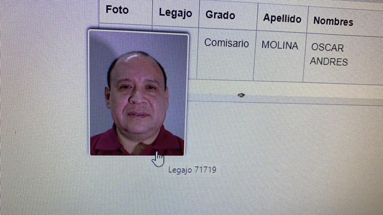 Legajo del comisario Molina, quien se quitó la vida esta tarde