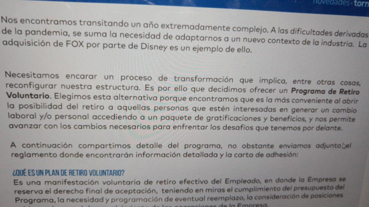 Parte de la comunicación interna donde se anuncia el Retiro Voluntario en Torneos.