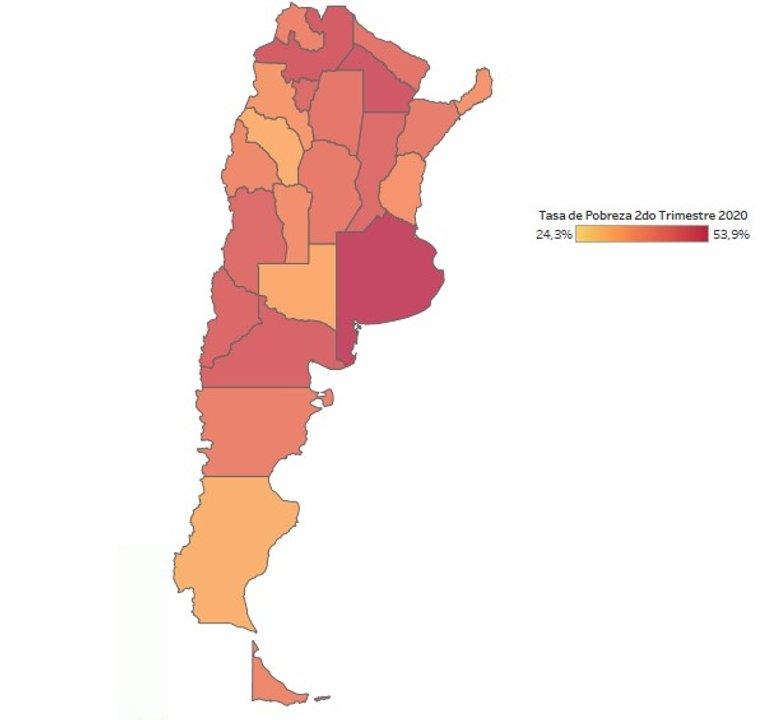 El Mapa Argentino de la Pobreza al 2do Trimestre 2020 (Fuente: elaboración IPyPP en base a datos de la EPH-INDEC)
