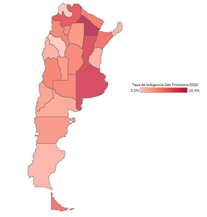 El Mapa Argentino de la Indigencia al 2do Trimestre 2020 (Fuente: elaboración IPyPP en base a datos de la EPH-INDEC)