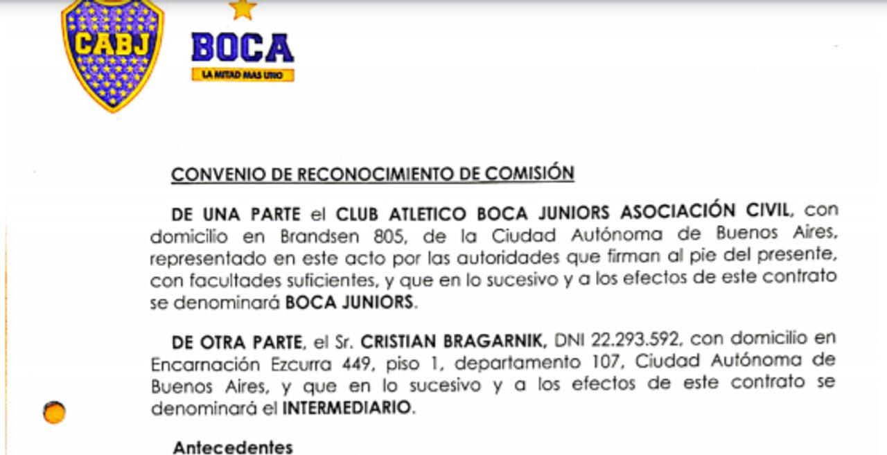 """""""Convenio de Reconocimiento de Comisión"""" firmado entre Boca y Bragarnik"""